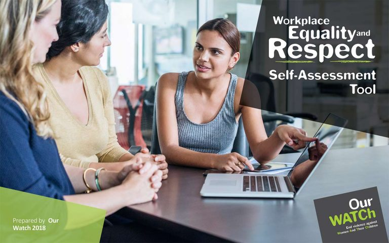 Cover of the Workplace Equality and Respect self-assessment guide showing three women talking at a desk at work in front of a laptop