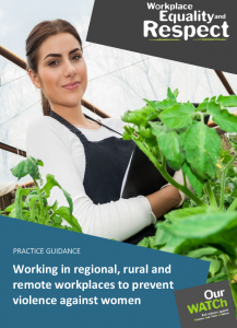 Cover of 'Practice guidance: Working in rural, regional and remote workplaces to prevent violence against women' showing a woman with dark hair wearing an apron and gloves, working with plants in a greenhouse.