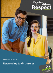 Cover of resource showing two young workers, a man and a woman, looking at camera in a work setting.