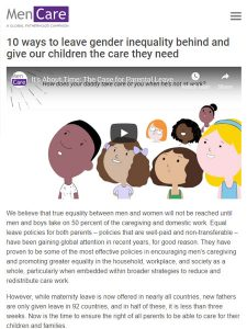 Screenshot of resource website, MenCare: It's about time, the case for parental leave