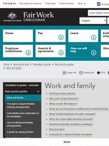 Screenshot of resource website, FairWork Ombudsman: Work and family