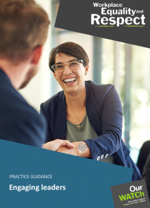 Cover of practice guidance document 'Engaging leaders' showing woman with short hair leaning forward to shake a man's hand.