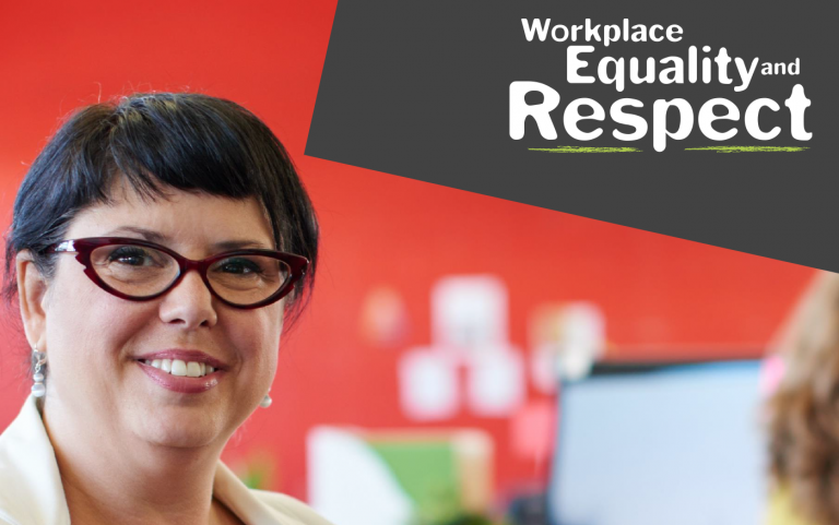 Cover of Workplace Equality and Respect practice guidance resource Communications Guide with image of a smiling woman with glasses sitting in an office.