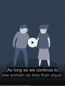 Screenshot of ANROWS findings video showing an animated still of two figures, one female one male.