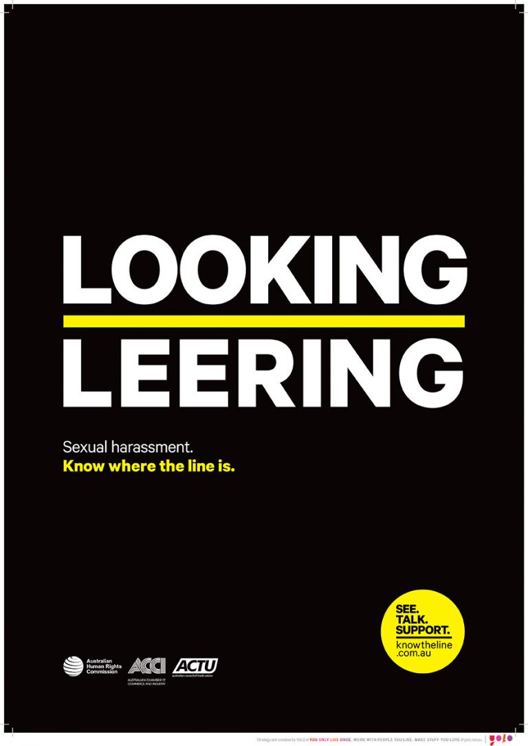 A Know the Line poster with the words 'Looking' and 'Leering' in big white letters on black with a yellow line in between them