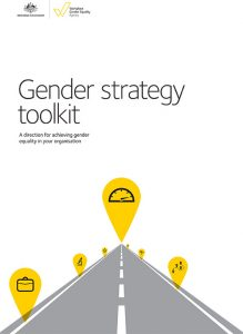 Cover of resource, Workplace Gender Equality Agency: Gender strategy toolkit, showing an illustrated road with markers on it with different icons inside them.