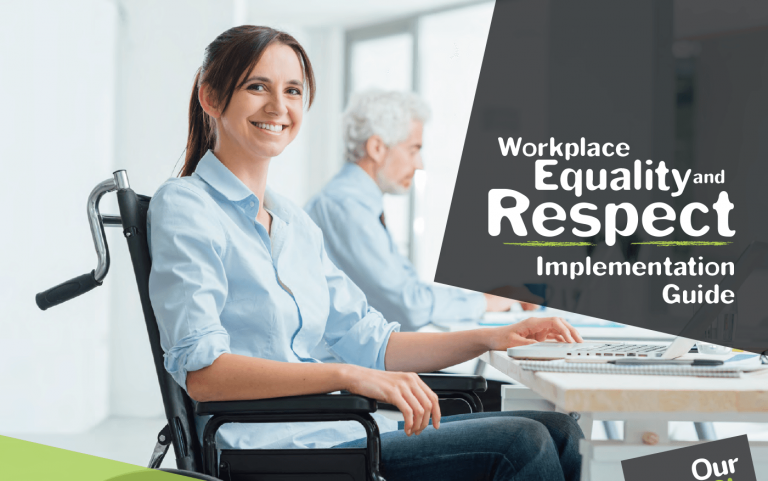 Cover of Workplace Equality and Respect Implementation Guide showing a woman in a wheelchair at a workdesk.