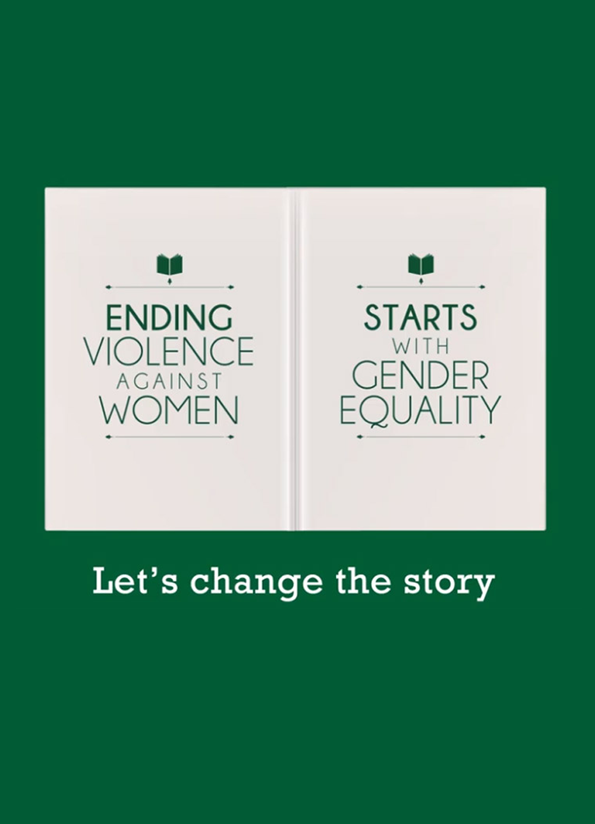 Screenshot of resource video showing an open book with white covers and green text with the words 'Let's change the story' below in white..