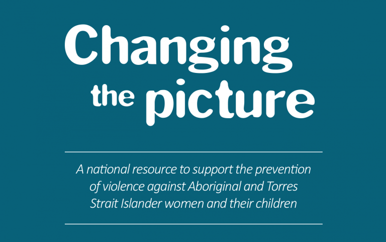 Cover of Changing the story with white text on teal cover and a cropped part of an Aboriginal artwork.