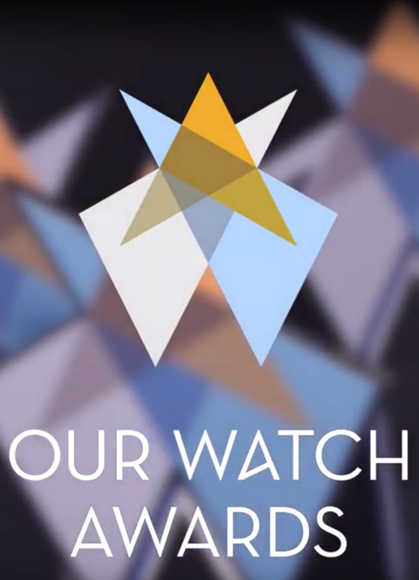 Our Watch Awards logo, a collection of blue and yellow shards that form a kind of star shape with the words 'Our Watch Awards' below.
