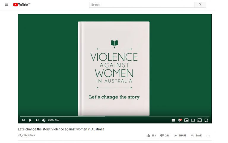 Video still of resource showing an animated white book on a green background. The book reads 'Violence against women in Australia. Let's change the story'