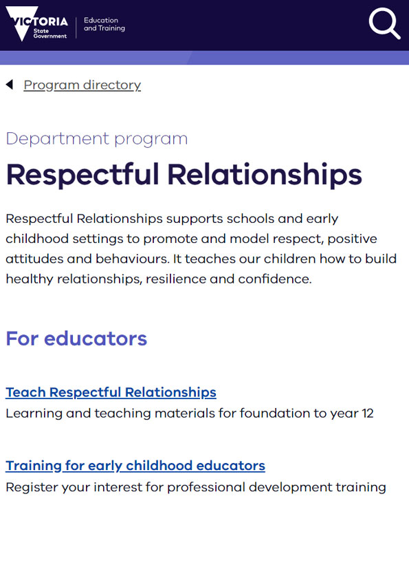 Screenshot of video, Respectful relationships education at Spring Gully Primary School.