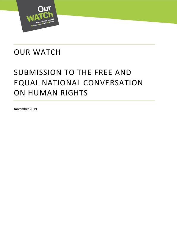 Cover of submission document with black title on white background and Our Watch logo.