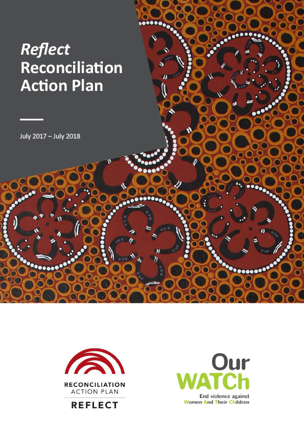 Cover of resource with Aboriginal artwork showing motifs of people sitting down to talk in circles.