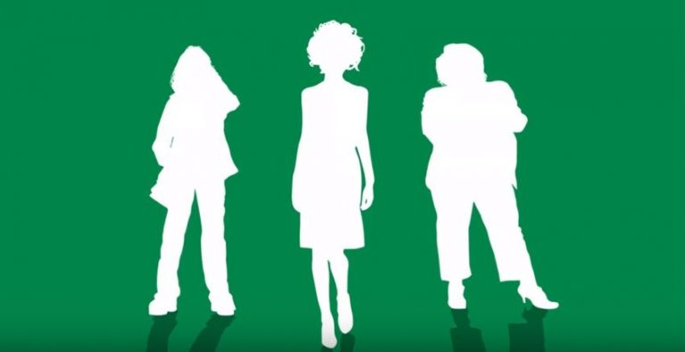 Silhouettes of three women on a green background.