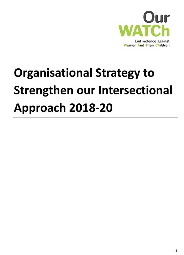 Cover of Our Watch strategy to strengthen intersectional approach.