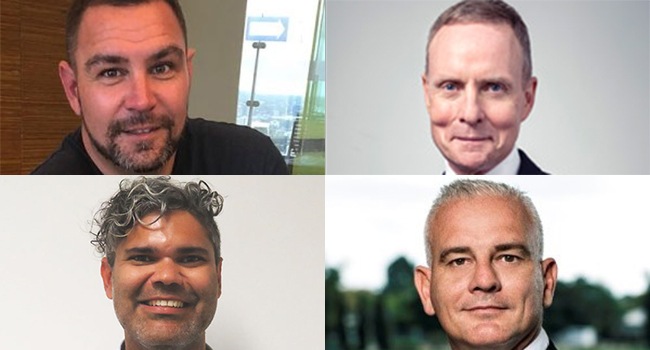 Composite of photos of four board members.