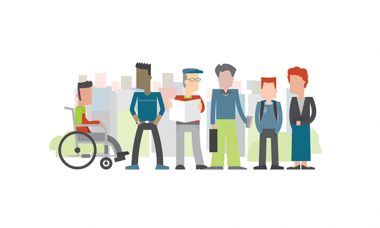 Stylised illustration of six people standing side by side with more people in the background. One person is in a wheelchair, one is a teenager, two are older people. The group is made up of men and women.