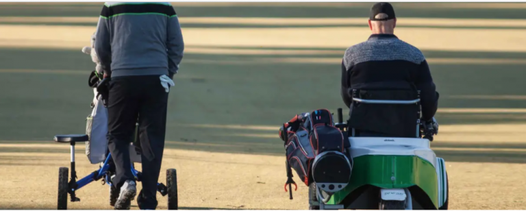 The backs of two golfers as the move along the green. One pushes a golf back, the other drives a buggy